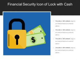 Financial Security Icon Of Lock With Cash