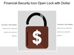 Financial Security Icon Open Lock With Dollar