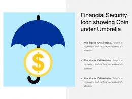Financial Security Icon Showing Coin Under Umbrella