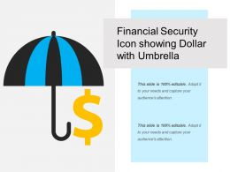 Financial Security Icon Showing Dollar With Umbrella