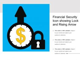 Financial Security Icon Showing Lock And Rising Arrow