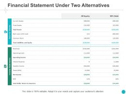 Financial Statement Under Two Alternatives Assets Ppt Powerpoint Presentation Summary
