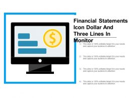 Financial Statements Icon Dollar And Three Lines In Monitor