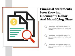 Financial Statements Icon Showing Documents Dollar And Magnifying Glass