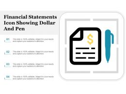 Financial Statements Icon Showing Dollar And Pen