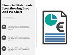 Financial Statements Icon Showing Euro And Pie Chart