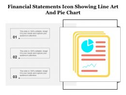 Financial Statements Icon Showing Line Art And Pie Chart