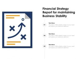 Financial Strategy Report For Maintaining Business Stability