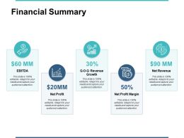 Financial Summary Currency Ppt Powerpoint Presentation File Elements