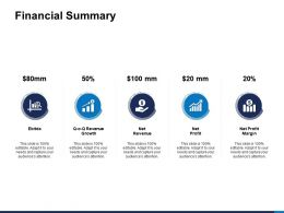Financial Summary Net Profit Margin Ppt Powerpoint Presentation Pictures Show