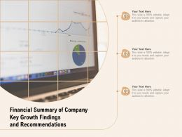 Financial Summary Of Company Key Growth Findings And Recommendations