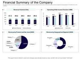 Financial Summary Of The Company Equity Collective Financing Ppt Sample