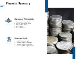 Financial Summary Ppt Powerpoint Presentation Portfolio Introduction