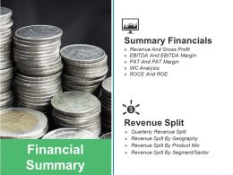Financial Summary Ppt Slides Clipart Images
