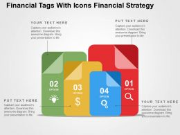 Financial Tags With Icons Financial Strategy Flat Powerpoint Design