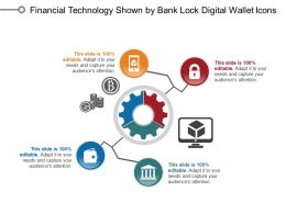 Financial Technology Shown By Bank Lock Digital Wallet Icons