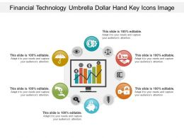 Financial Technology Umbrella Dollar Hand Key Icons Image