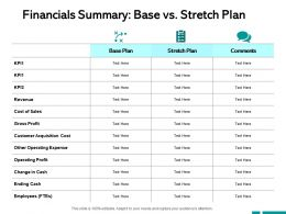 Financials Summary Base Vs Stretch Plan Ending Cash Ppt Powerpoint Presentation Professional