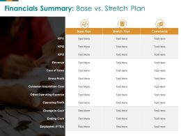 Financials Summary Base Vs Stretch Plan M2609 Ppt Powerpoint Presentation Show Graphics