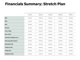 Financials Summary Stretch Plan Gross Profit Ppt Powerpoint Presentation Gallery Picture