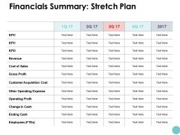 Financials Summary Stretch Plan Ppt Powerpoint Presentation Icon Diagrams