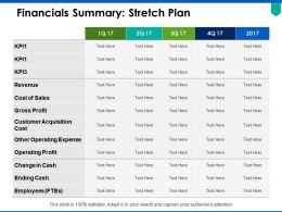Financials Summary Stretch Plan Ppt Powerpoint Presentation Pictures Show