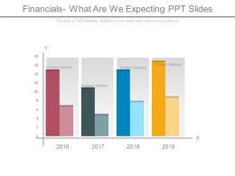 Financials What Are We Expecting Ppt Slides