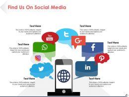 Find Us On Social Media Ppt Pictures Slide Download