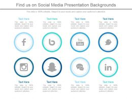 Find Us On Social Media Presentation Backgrounds