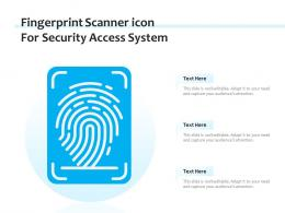 Fingerprint Scanner Icon For Security Access System