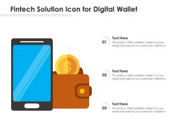 Fintech Solution Icon For Digital Wallet