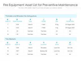 Fire Equipment Asset List For Preventive Maintenance