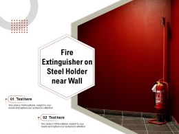 Fire Extinguisher On Steel Holder Near Wall