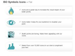 Fire Eye And Face Explosive Glassware Hazard ISO Icons For Powerpoint