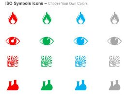 fire eye and face explosive glassware hazard iso icons for