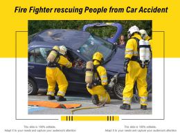 Fire Fighter Rescuing People From Car Accident