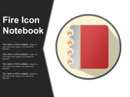 Fire Icon Notebook PPT Infographics