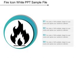 Fire Icon White Ppt Sample File