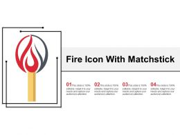 Fire Icon With Matchstick Ppt Slide Examples