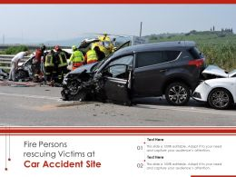 Fire Persons Rescuing Victims At Car Accident Site