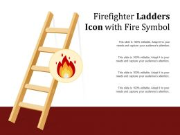 Firefighter Ladders Icon With Fire Symbol