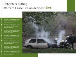 Firefighters Putting Efforts To Cease Fire On Accident Site