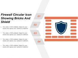 Firewall Circular Icon Showing Bricks And Shield