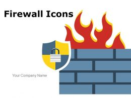 Firewall Icons Circular Bricks Protection Shield Internet World