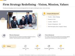 Firm Strategy Redefining Vision Mission Values Ppt File Formats