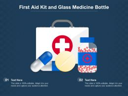 First Aid Kit And Glass Medicine Bottle