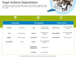 First Funding Round Pitch Deck Target Audience Segmentation Ppt Powerpoint Ideas