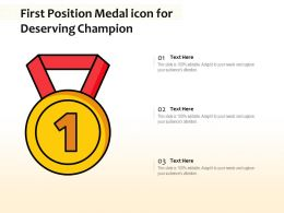 First Position Medal Icon For Deserving Champion
