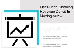 Fiscal Icon Showing Revenue Deficit In Moving Arrow