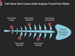 Fish Bone Root Cause Audit Analysis Powerpoint Slides